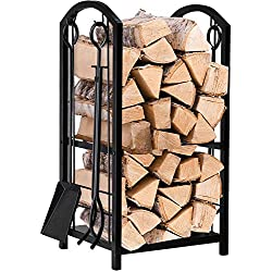 Fireplace Log Rack with 4 Tools Indoor Outdoor Fireside Firewood Holders Lumber Storage Stacking Black Wrought Iron Logs Bin Holder for Fireplace Tool set Brush Shovel Poker Tongs 15.8 x 29.1 x 11.8in