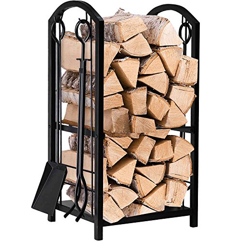 Fireplace Log Rack with 4 Tools Indoor Outdoor Fireside Firewood Holders Lumber Storage Stacking Black Wrought Iron Logs Bin Holder for Fireplace Tool set Brush Shovel Poker Tongs 15.8 x 29.1 x 11.8in (Log Indoor)