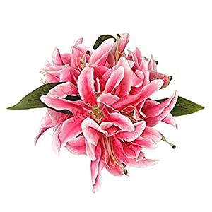Alcyoneus 1 Bunch Artificial Lily Blossoms Faux Flowers Bridal Bouquet Wedding Home Decor 66