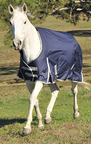 GATSBY LEATHER COMPANY 284264 Gatsby Premium 1200D Medium Weight Turnout Blanket Navy/Silver, 76