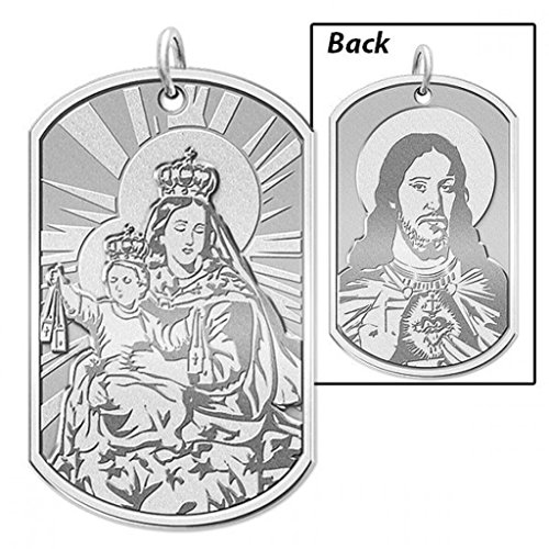 [Scapular Double Sided Dog Tag Religious Medal - 2/3 Inch X 1 Inch - Solid 14K White Gold] (14k White Gold Religious Medal)