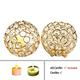 Feyarl Handcraft Crystal Candle Holder Sparkly Candle Lantern Premium 5 Layers Crystal Beads for Christmas Wedding Centerpiece Home Deco
