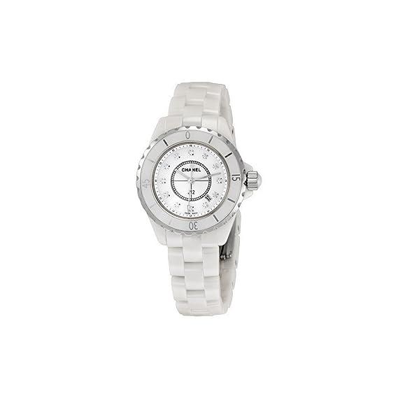 Chanel J12 Blanco Cerámica 33 mm. Diamond Dial Cuarzo Reloj – H1628