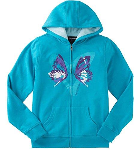 Calvin Klein Jeans Girls' Sherpa Lined Hoodie,Blue,L (Jackets Denim Wholesale)