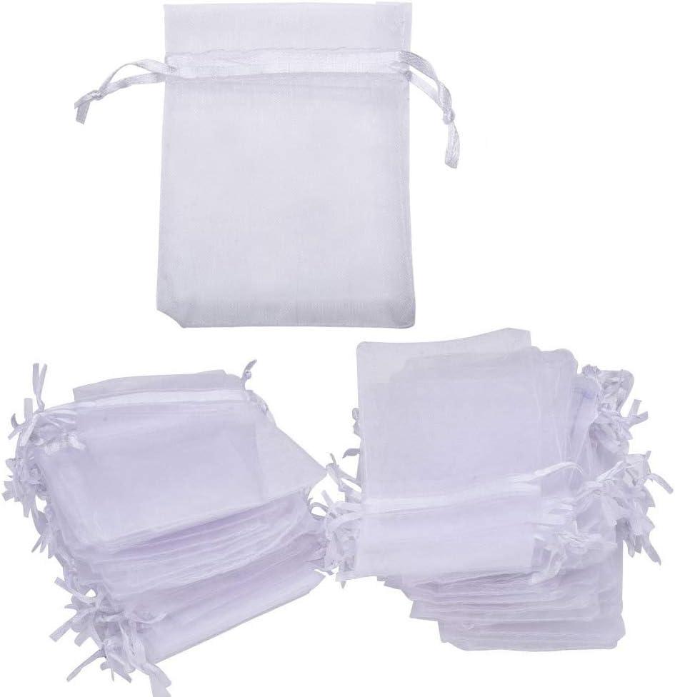 Bolsos de regalo de organza SAIYU 100 PCS Bolso de lazo de organza Bolsas de favor de la boda para la fiesta de cumpleaños de la boda Favor de envoltura de regalo de Navidad (Blanco, 7 * 9 cm)