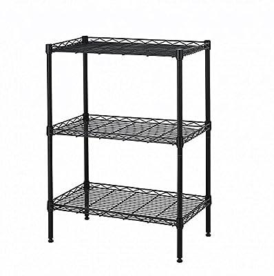 3 Tier Layer Adjustable Wire Metal Shelf Rack (Black)