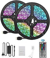 Tiras LED 10M 5050 RGB Tiras de Luces LED Iluminación con 300, Adaptador de Alimentación 5A Impermeable IP65, Control...