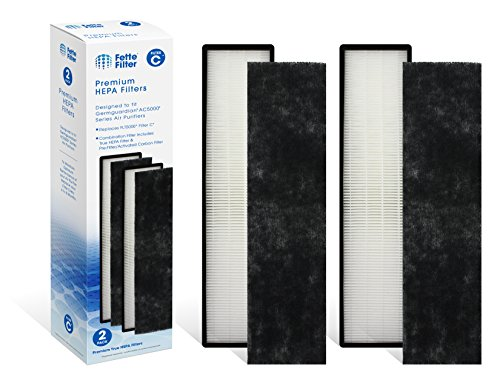 Fette Filter 2-Pack True HEPA Filter Compatible GermGuardian FLT5000 Models AC5250PT, AC5300B, AC5350W, AC5350B, AP2800CA, Black+Decker BXAP250 Lowe's Idylis IAP-GG-125 Air Purifiers