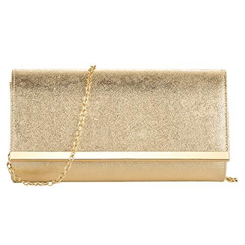 Women Evening Party Clutch Bags Handbag Bridal Wedding Purse (GOLD A)