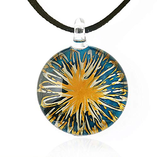 (Suvani Jewelry Hand Blown Venetian Murano Glass Blue with Yellow Flower Pendant Necklace, 18-20 inches)