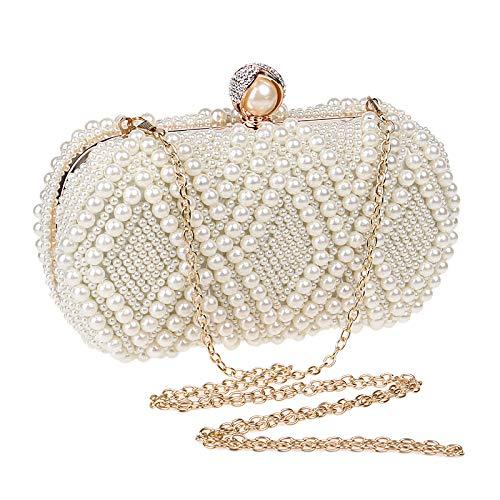 Clutch Perlé Pochettes Soirée Beige Scintillement Perle Sac De Main Bal Fait Mariage Femme À Fête XO4g1qq