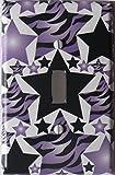 Purple Zebra Print Radial Star Light Switch Plate Cover