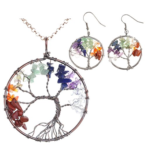 ling Crystal Quartz Tree of Life Necklace & Earrings Jewelry Set ()