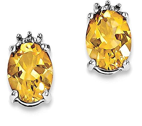 ICE CARATS 925 Sterling Silver Oval Yellow Citrine Diamond Post Stud Ball Button Earrings Fine Jewelry Gift Set For Women Heart by ICE CARATS