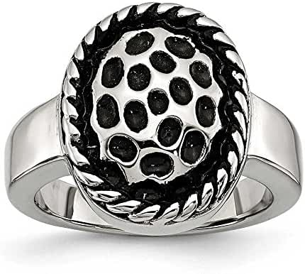 Stainless Steel Polished and Antiqued Ring - Size 8