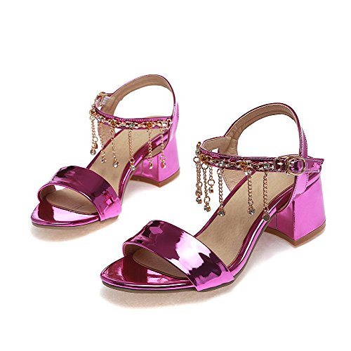 AllhqFashion Women's Patent Leather Buckle Open Toe Kitten Heels Solid Sandals RoseRed DBznXHD