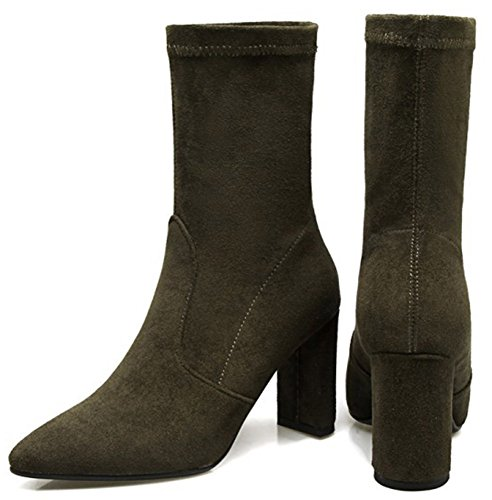 Easemax Women's Comfy Pointed Toe Faux Suede Block High Heel Pull On Mid Calf Martin Booties Green JJQf3cR2z