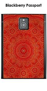 Kinghousse-Carcasa para Blackberry Passport diseño Mandala rosetón & rojo, color amarillo