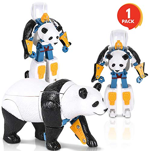 ArtCreativity Panda-Robot Transformer Action Figure | 13 Moving Parts | Cool Transforming Panda Toy for Kids | Fun Birthday Gift Idea for Boys and Girls | Cool Contest or Carnival Prize -