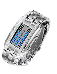C'est Moi Men Watchs Waterproof Binary LED Authentic Fashion Quartz Watches Lovers Personality Stainless Steel SmallSilver