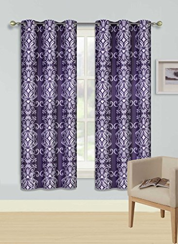 GorgeousHomeLinen (F'S) 1 Panel 2 Tone Printed Design Room Darkening Thermal Blackout Window Curtain 63″ or 84″ Long, 3 Different Designs (63″ Length, Vera-Purple)