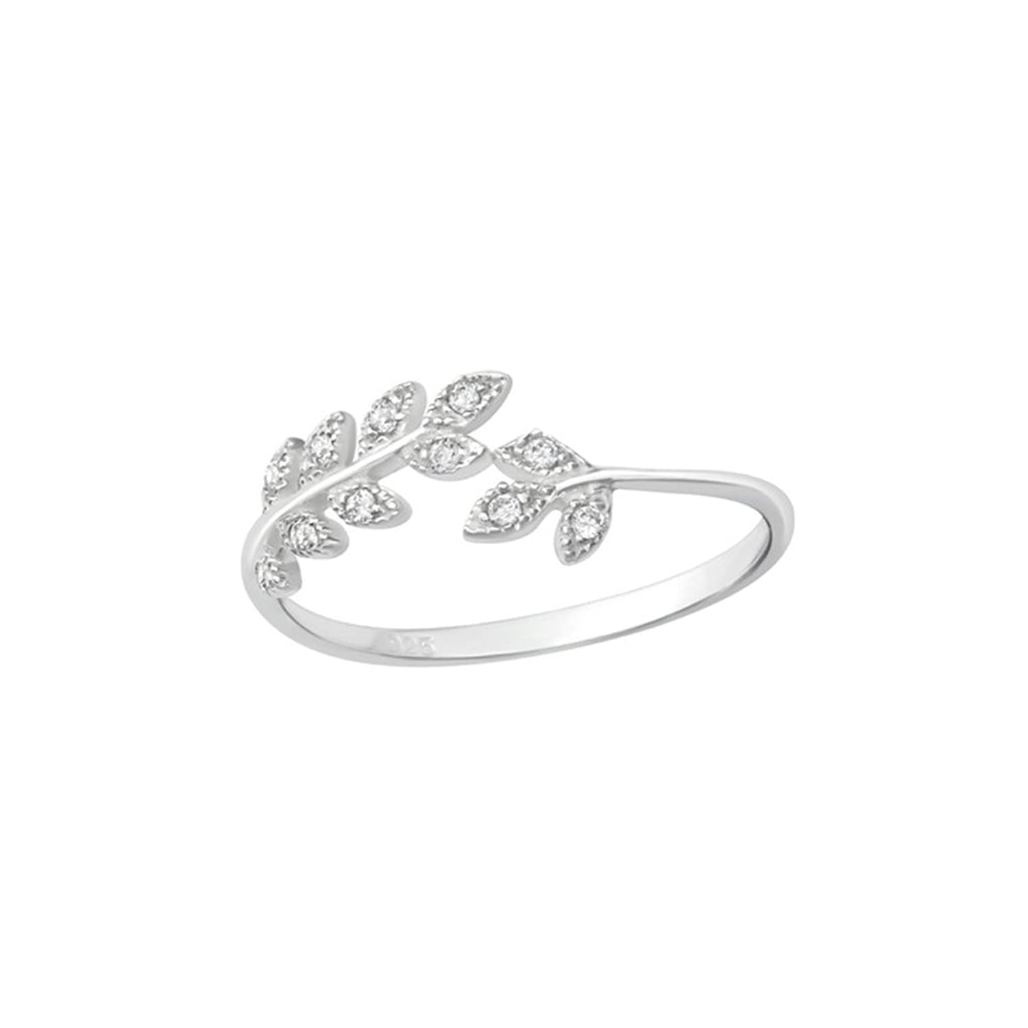 Polished and Nickel Free Liara Heart Jeweled Rings 925 Sterling Silver