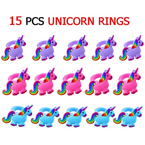 Unicorn Rings Kit Contains 15 PCS Cartoon Rings with Blue Pu