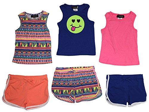 6 Piece set Mix & Match Tank Top & Shorts (Pink Linen Mix)