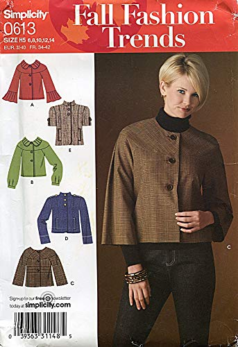Simplicity Fall Fashion Trends Pattern 0613 Misses' Jackets, Size H5 (6-14)