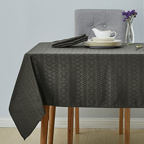 Deconovo Decorative Jacquard Tablecloth with Diamond Patterns Wrinkle and Water Resistant Spill-Proof Rectangle Tablecloths for Wedding Decoration 60 x 102 inch Grey