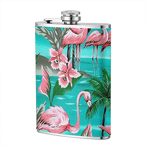 HFdAK.t Flamingo Island Paradise Stainless Steel 8 Oz Hip Flask Wearproof Camping Wine Pot with Leather Wrapped Cover Whiskey Wine Flagon