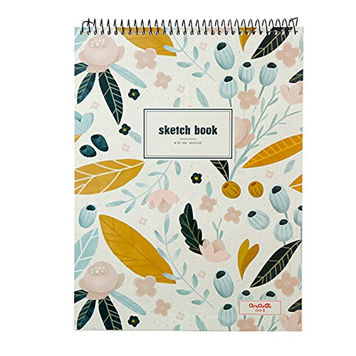 Goblin's Treasures Floral Sketchbook Creative Notebook Hardcover Spiral Notebook with Blank Paper 50 Sheets/100 Pages,8.5