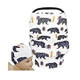 SHELLBOBO Nursing Cover Floral Shawl Scarf Toddler Baby Car Seat Canopy Bear (white)