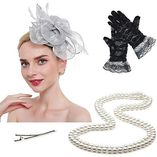 Fascinators Tea Party Hats for Womens Kentucky Derby Dresses,w/Pearl Necklace & Lace Gloves (OneSize, Silvergrey)]()