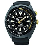 Seiko Kinetic Black Ion Silcone Strap Black Dial Men's Watch SUN045