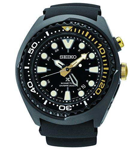 Seiko Kinetic Black Ion Silcone Strap Black Dial Men's Watch (Seiko Kinetic Divers)