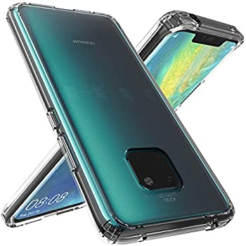 Huawei Mate 20 Pro Case, OUBA [Shock Absorbing] Air Hybrid Slim Thin  Shockproof Armor Anti-Drop Crystal [Clear] Back + TPU Bumper Protective  Case