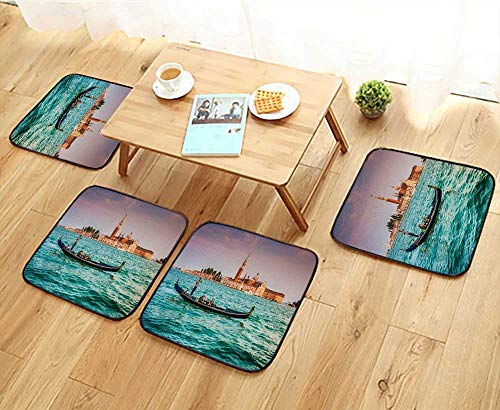 Jiahonghome Universal Chair Cushions Panoramic View of Traditional Gondola on Canal Grande with San Giorgio Maggiore Church Personalized Durable W15.5 x L15.5/4PCS Set ()