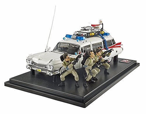 Ghostbusters Ecto-1 w / Figures White - Mattel Hot Wheels BLY25 - 1/18 Scale Diecast Model Toy Car
