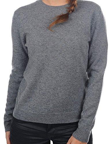 Balldiri 100% Cashmere Kaschmir Damen Pullover Rundhals 2-fädig mit Bündchen grau M