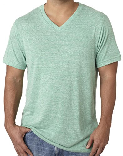 Green Mens Tee - Mens Tri Blend V-Neck Tee Shirt, Small Green Triblend