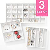 MESHA Stackable Jewelry Organizer Trays Set of 3 Muti-use Jewelry Storage Holder for Earrings, Bracelets, Necklaces & Rings White Leather Display Case 37 Slot for Drawer or Dresser