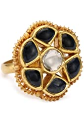 "Fine Jewelry by Kevia ""Byzantium"" Diamond and Sapphire Flower Ring, Size 7"