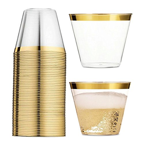 Juego de 60 vasos de plástico dorados – vasos de plástico transparente de 236 ml con borde dorado – Dispone de vasos...