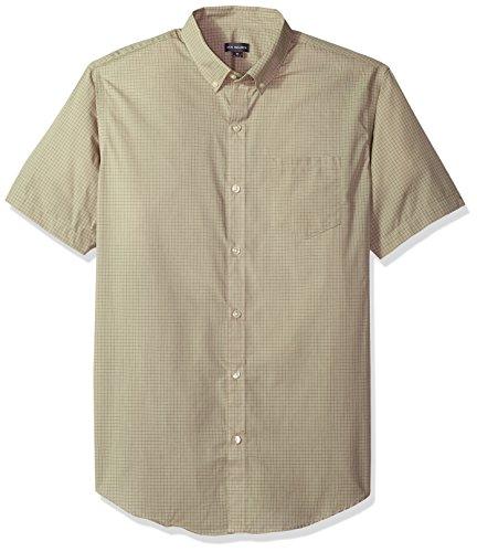 Van Heusen Men's Wrinkle Free Short Sleeve Button Down Check Shirt, Aluminum Minicheck, X-Large