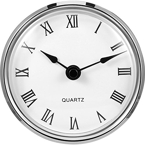 Hicarer 3-1/8 Inch (80 mm) Quartz Clock Fit-up/Insert with Roman Numeral, Quartz Movement (Silver Rim) ()