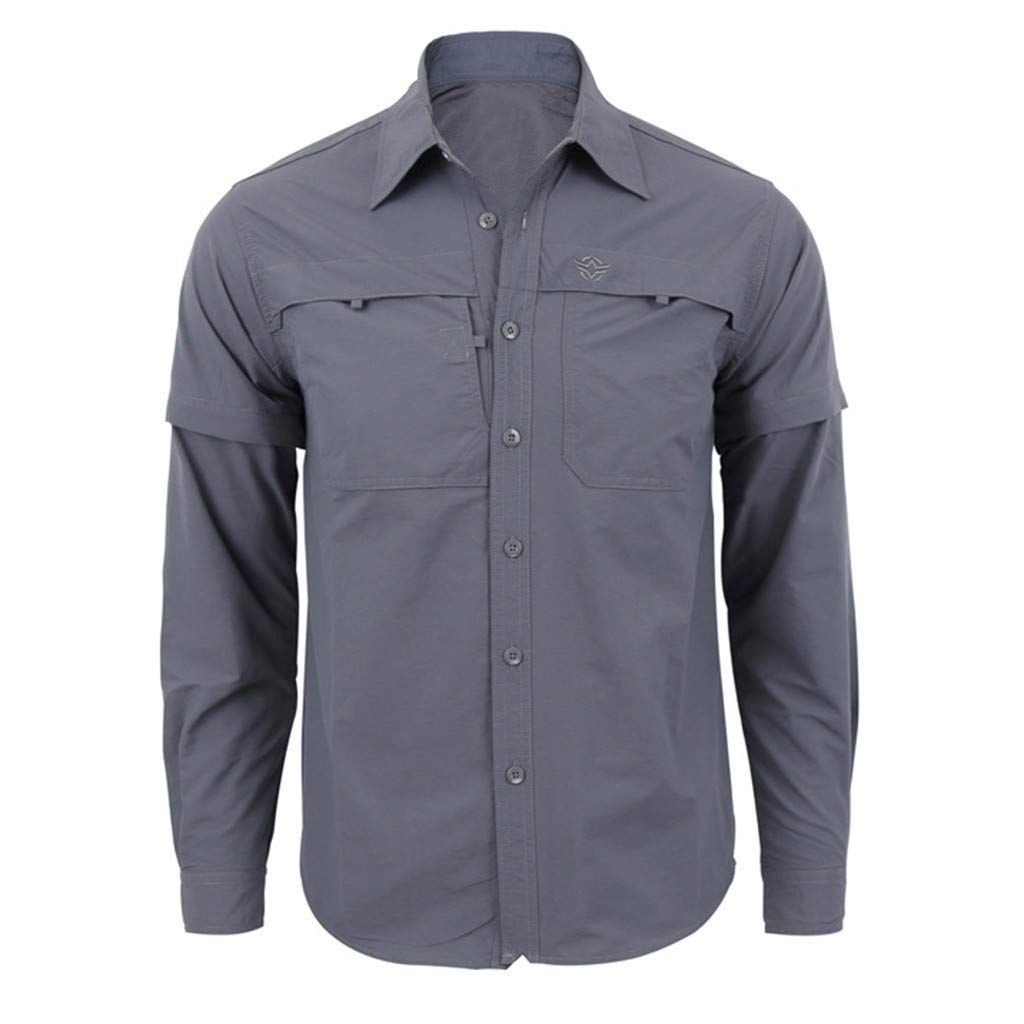 Men Military Shirt Long Sleeve Vintage Quick-Drying Fishing Outdoor Travel Top Jacket (XXL, Gray)