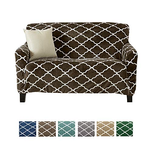 (Great Bay Home Modern Velvet Plush Strapless Slipcover. Form Fit Stretch, Stylish Furniture Shield/Protector. Magnolia Collection Strapless Slipcover Brand. (Loveseat, Walnut Brown))