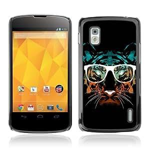 YOYOSHOP [Hipster Glasses Cool Tiger] LG Google Nexus 4 Case