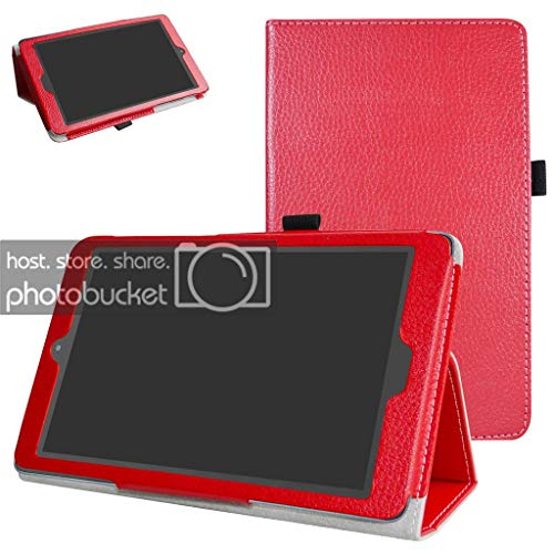 Alcatel A30 Tablet 8 Case,Mama Mouth PU Leather Folio 2-Folding Stand Cover for T-Mobile Alcatel A30 8-inch Tablet Model 9024W 2017 Released,Red